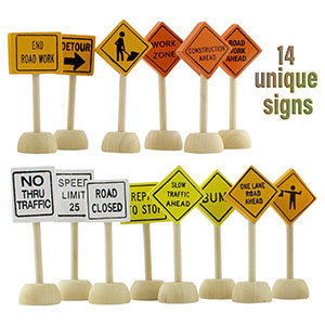 attatoy toy wooden road construction signs traffic set street small educational