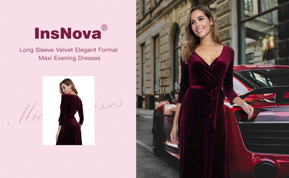 Winter Long Sleeve Velvet Formal Evening Gown for Christmas Holiday Party Thanksgiving office Party