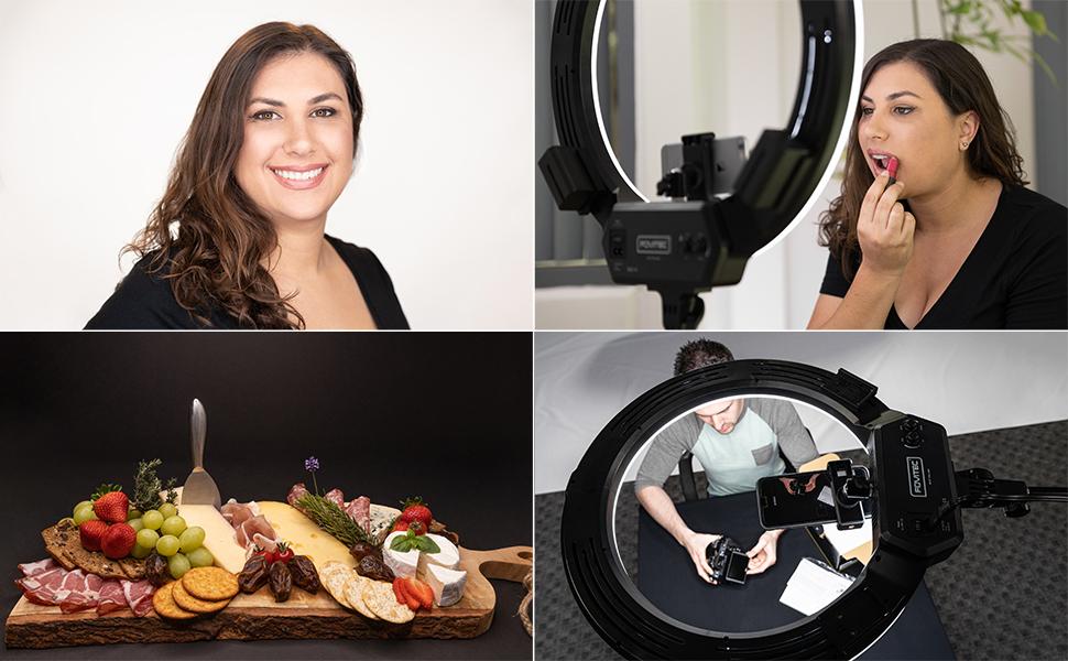 Fovitec LED Bi-Colour Ringlight for beauty, food & vlogging