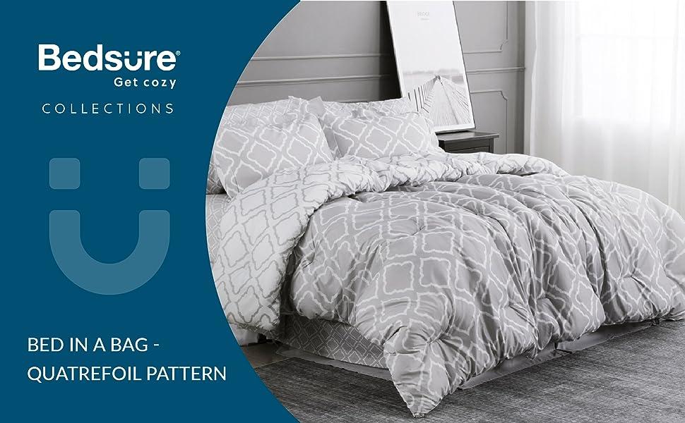get cozy with the Bedsure 6 Piece Quatrefoil Pattern Comforter Set