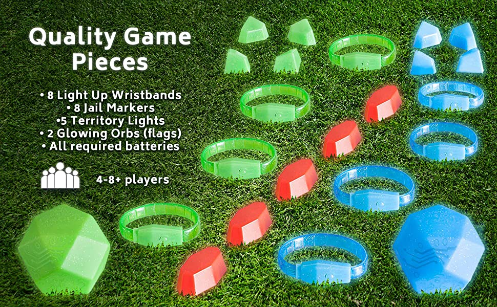 glow in the dark game set for capture the flag for kids and teens with light up game pieces