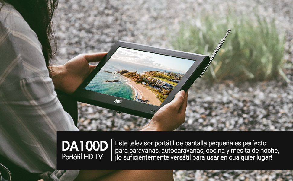 """Televisión Portátil TDT HD 10"""" DVB-T & DVB-T2 August DA100D Pantalla LCD UHD Ready, Grabador PVR y Reproductor Multimedia Retransmisión Digital & ..."""