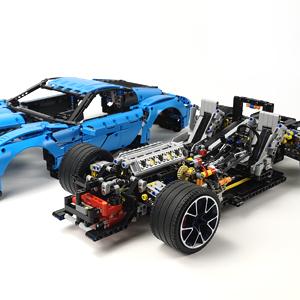 2700 Pcs Adult Collectible Model Cars Set to Build Nifeliz Racing Car Corvet MOC Building Blocks and Engineering Toy 1:8 Scale Blue Race Car Model