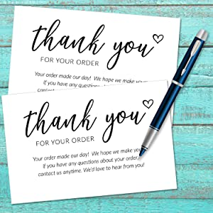 business thank you for your order insert cards stickers
