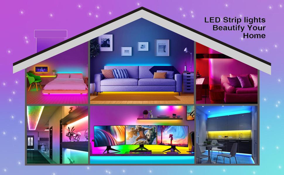 Tira de luces LED de 10 m, kit de tiras de luz LED que cambian de color RGB 5050 con 44 teclas