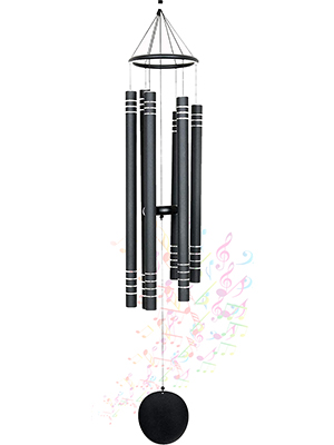AshmanOnline 42 inch Black Wind Sympathy Chimes with 5 Copper Vein Tubes