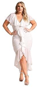 Women's Fashion Plus Size High Low Short Sleeve Lace Chiffon Ruffled Waterfall Midi Dovetail Dresses