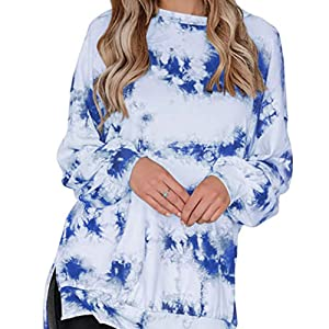 Bunanphy Womens Long Sleeve Crew Neck Tie Dye Gradient Side Slit Oversized Loose Casual Sweatshirt