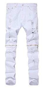 LONGBIDA Men's Ripped Skinny Distressed Zipper Jeans Straight Slim Fit Destroyed Biker Pants