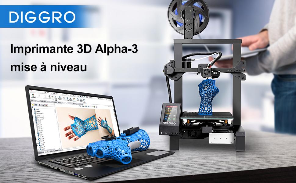 Imprimante 3D Haute Pr/écision DIGGRO Alpha-3 Imprimante 3D avec 4,3 /Écran Tactile D/étection Rupture de Filament et Reprise de Derni/ère Impression Grand Volume dimpression 220mm*220mm*250mm