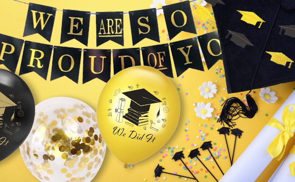 Herzlichen Glückwunsch Ballon Abschlussfeier Dekorationen 2020 Mit Wir Sind So Stolz Auf Sie Banner Graduation Bunting Schwarz Und Gold Wir Haben Es Ballon Spielzeug
