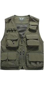 Men's Casual Lightweight Outdoor Travel Fishing Vest Jacket Multi Pockets