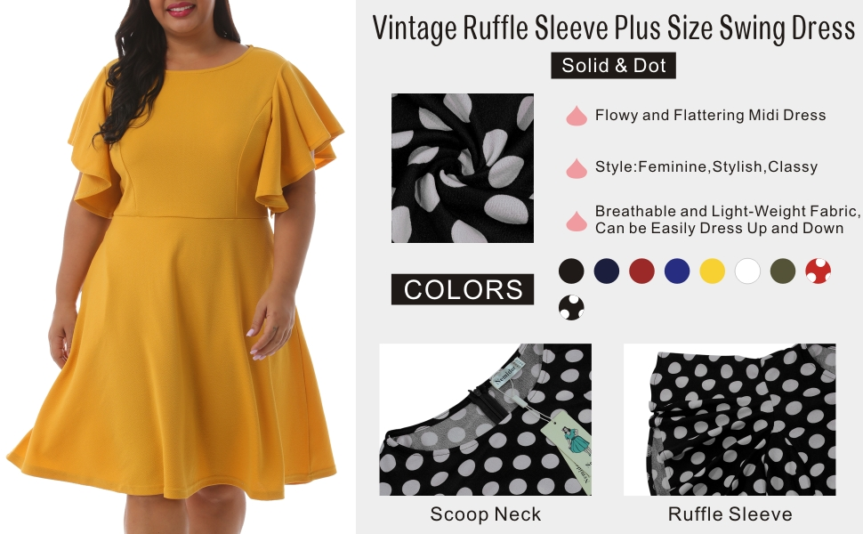 Nemidor Women's Vintage Ruffle Sleeve Party Midi Dress Plus Size Casual Summer Fit and Flare Dress