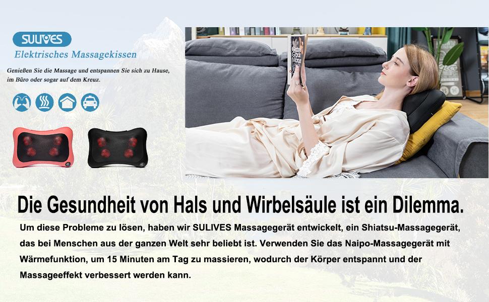 Coussin de massage shiatsu pour le dos, les épaules, le cou avec fonction chauffante.