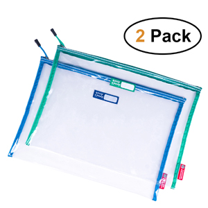 big transparent file folders organizer in 2 pack set for document safe storage for college students