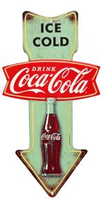 coca-cola arrow metal sign