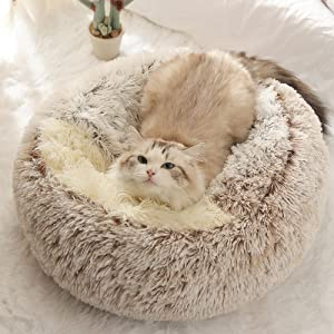 Pet Bed- Round Soft Plush Burrowing Cave Hooded Cat Bed Donut for Dogs & Cats, Faux Fur Cuddler