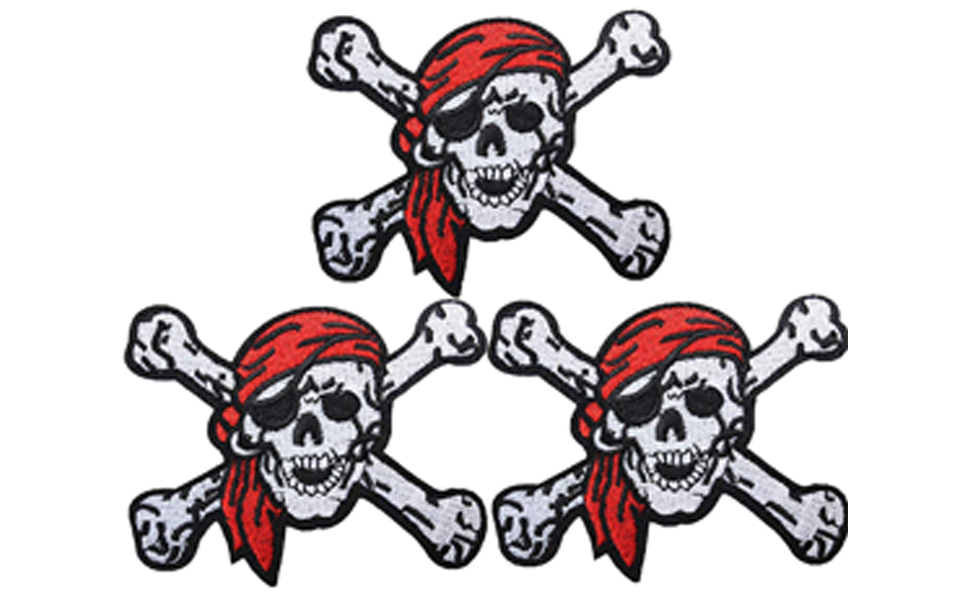 Pirate Biker Badge Iron On Motif Patch Jeans Jacket Tshirt Costume Party Cushion