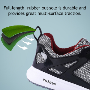 Full-Length, Rubber Out-Sole is Durable Provide Great Multi-Surface