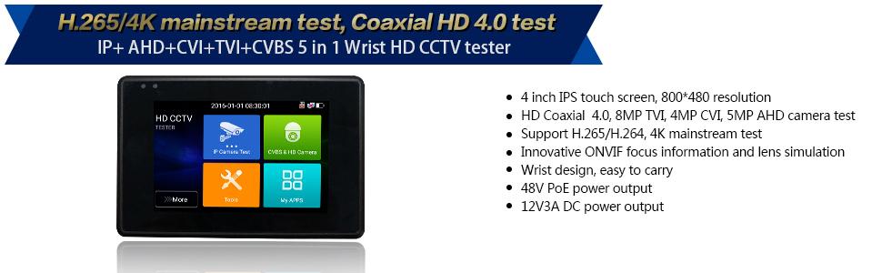 "4"" Wrist-wear 4K H.265 IP/CVBS/CVI/TVI/AHD 5-in-1 CCTV Tester"