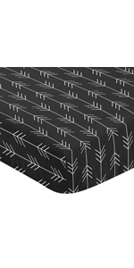 Black and White Woodland Arrow Baby or Toddler Fitted Crib Sheet for Rustic Patch Collection