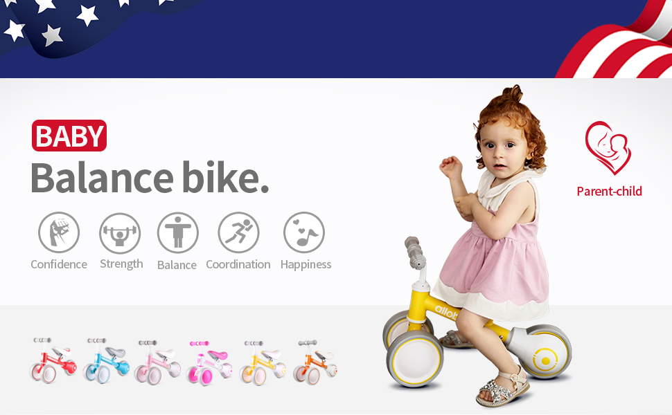 Multi-color baby balance bike