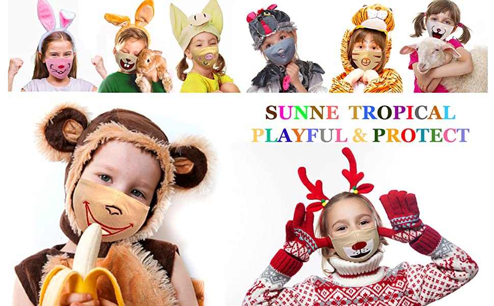 children embroidery animal face mask