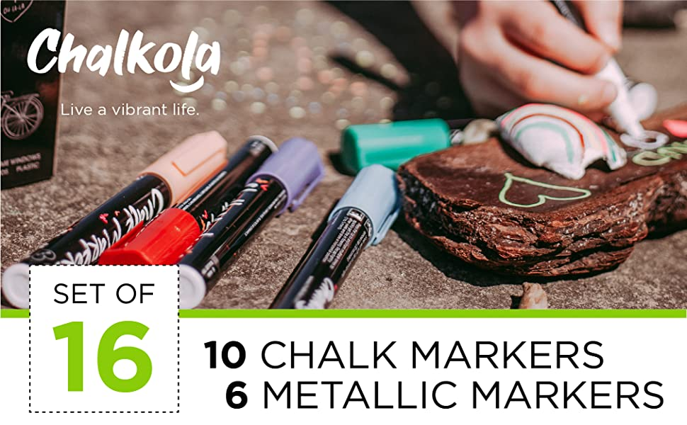 Liquid Chalk Markers & Metallic Colors by Chalkola   Pack of 16 chalk pens