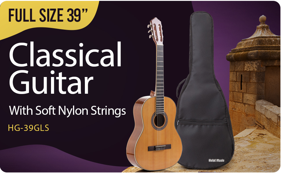 Hola Music HG-39GLS Full size Classical Guitar Bundle Pack with, picks, bag, truss rod, Hex Key