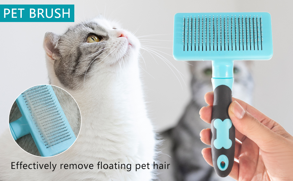 Self Cleaning Slicker Brush for Dogs and Cats,Pet Grooming Tool,Removes Undercoat,Shedding