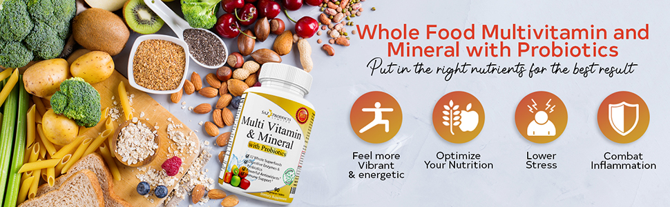 Saz Products Whole Food Multivitamin and Mineral with Probiotics multi food based natural vitamin