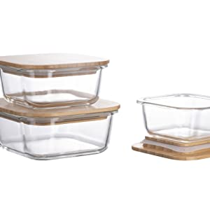 homiu glass food container bamboo lid premium kitchen