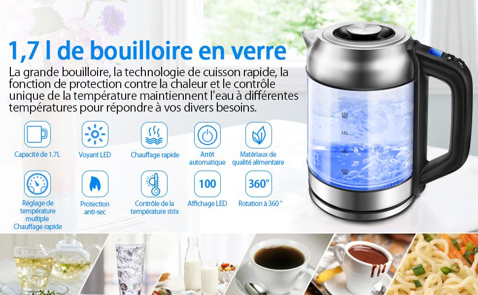 6 temp/ératures pr/ér/égl/ées pour Bouilloire /à Th/é Bouilloire Inox 1.7L Bouilloire de Chauffage Rapide Sans BPA Verre Transparent Beau Design Morpilot Bouilloire /Électrique Thermostat R/églable