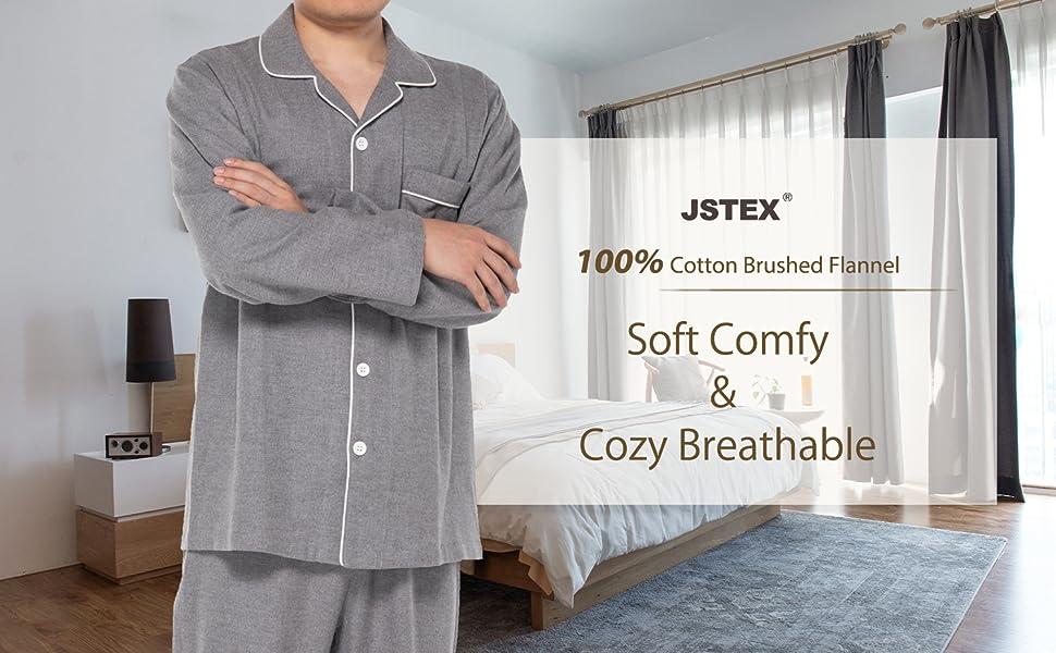 JSTEX Mens flannel Pajamas Set
