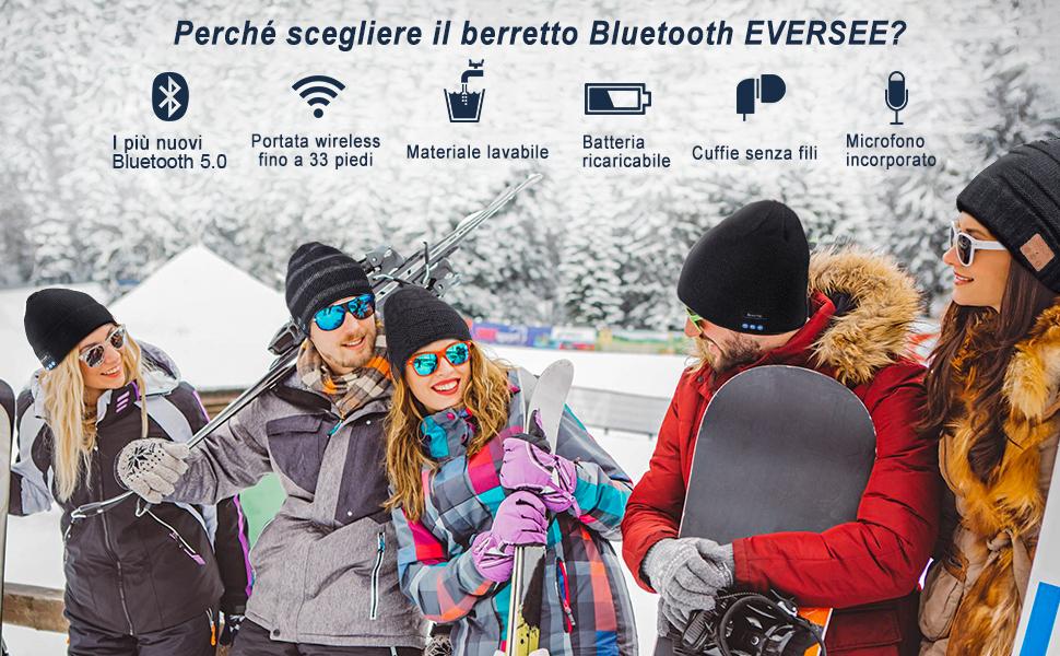Regalo di Natale Cappello Uomo Donna Invernali Berretto Bluetooth 5.0 Musica Cappello Migliori Regali Natale Cappello Sportivo da Esterno Campeggio Sci EVERSEE Cappello Bluetooth Idee Regalo Uomo