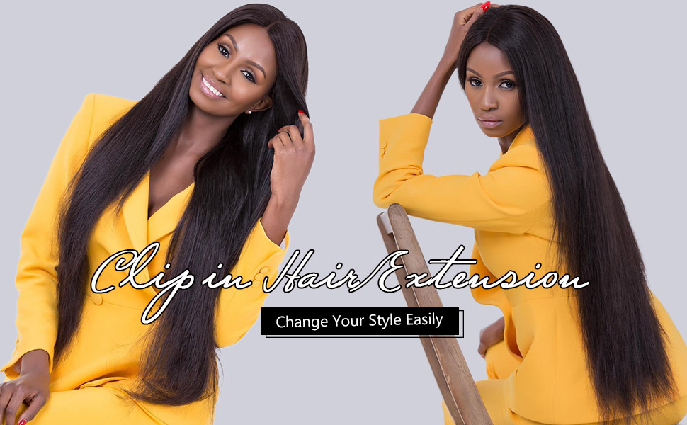 synthetic straight clip in on hair