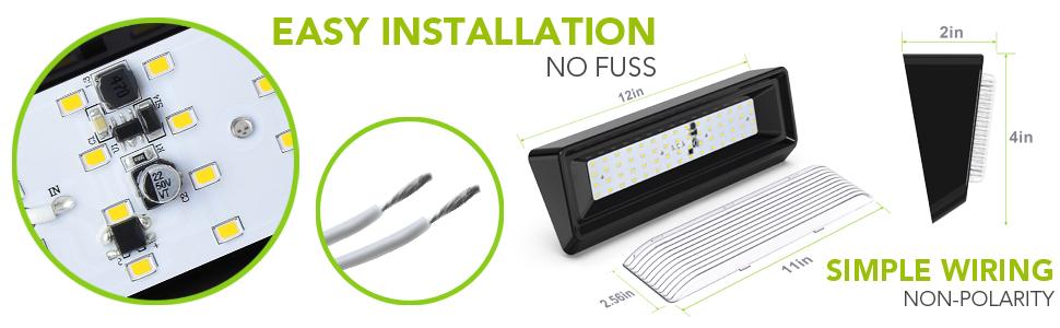 "RV Exterior XL Large 12"" Black Porch Light Easy Installation No Fuss Simple Wiring Non Polarity"