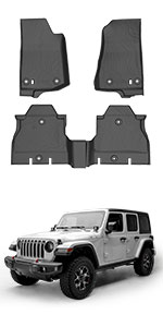 oEdRo All Weather Cargo Liner Compatible for 2011-2014 Jeep Wrangler without Subwoofer 4 door only,TPE material Cargo Mats,Black Cargo Tray