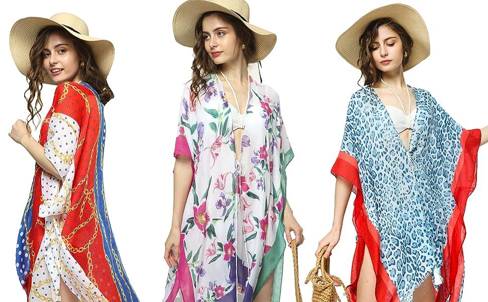 Women Print Kimono Cardigan V Neck Loose Beach Cover Up