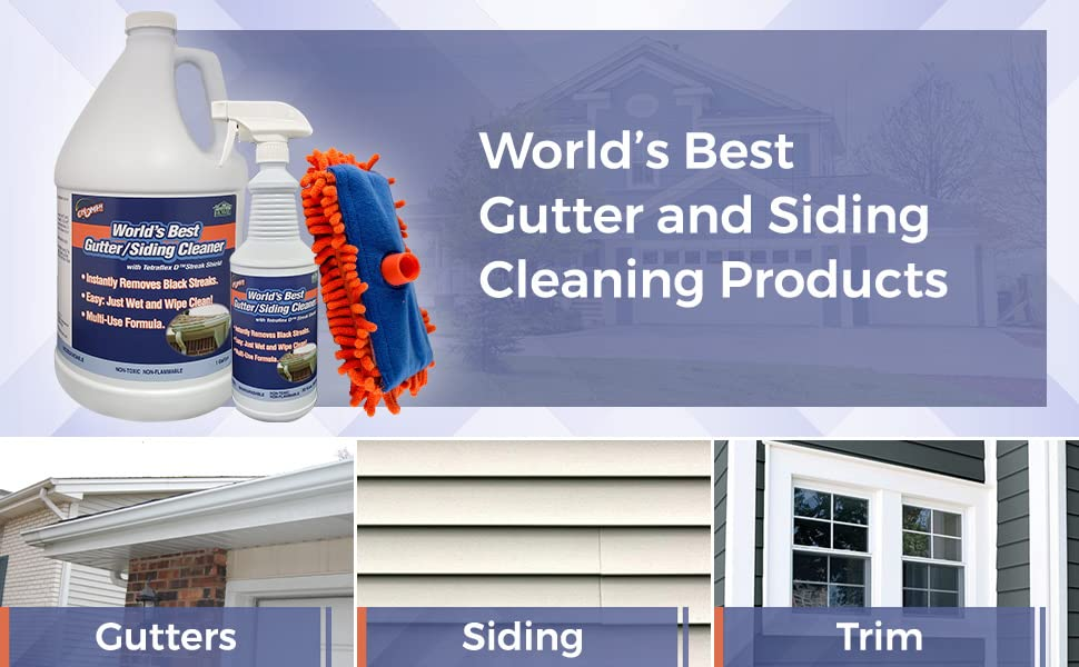 Fast easy safe gutter cleaner house wash siding gallon quart microfiber tool