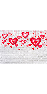 Bokeh Red Heart Photo Background Booths Portraits 5x3ft Banner