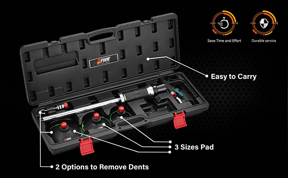 EWK 3 Size Pneumatic Dent Remover Paintless Air Vacuum Suction Puller Kit with Case