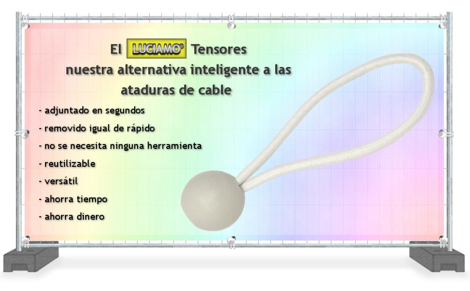 LUCIAMO ® Tensores - la alternativa inteligente a las ataduras de cables - 20 piezas 100mm, blanco - con bola I gomas tensoras I elástica para tiendas de campaña I cuerdas para