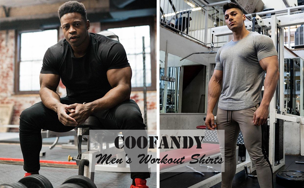 COOFANDY Men's 3 Pack Workout T Shirts Short Sleeve Gym Bodybuilding Muscle Shirts Fitness Tee Tops