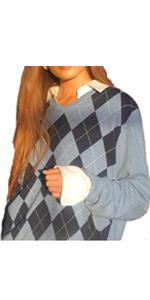 Women Girls Y2K Argyle Preppy Style Knit Sweater Tank Top Streetwear E-Girls 90s Plaid Sweater Vest