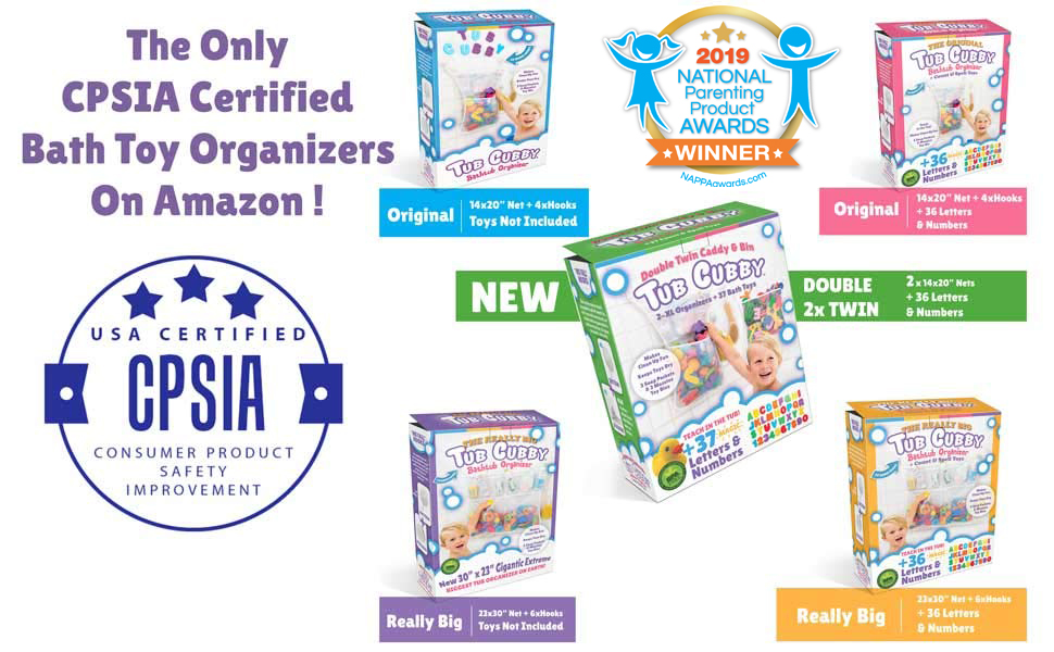 Tub Cubby CPSIA Safety Certification NPPA Award Winner Bathtub Toy Organizer ABC Foam Letters