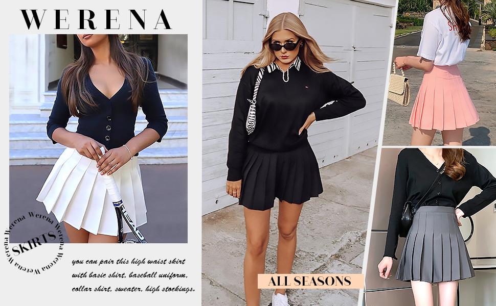 Womens Girls Pleated Tennis Skirt High Waisted Mini Skater Skirts School Uniform Skorts with Shorts