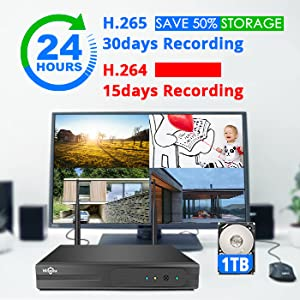 30days records  [Expandable 8CH] Hiseeu Wireless Security Camera System with 1TB Hard Drive with One-Way Audio, 8 Channel NVR 4Pcs 1080P 2.0MP Night Vision WiFi IP Security Surveillance Cameras Home Outdoor 112c45bb 60b9 48d2 bcc0 2297691b278e