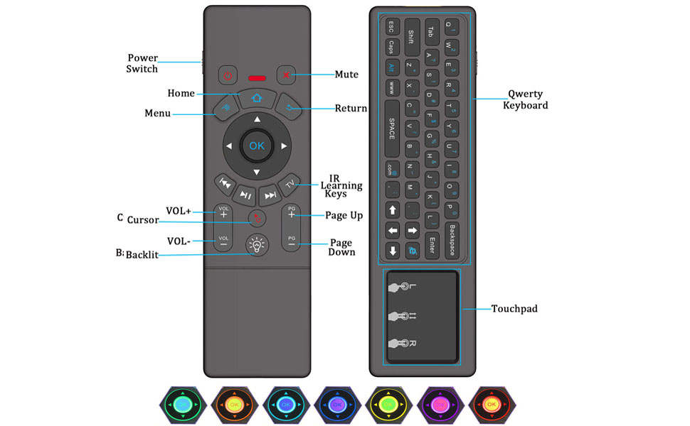 amiciSmart Air Mouse Wireless Mini Touchpad Keyboard Remote Control with 7  Color LED, Gyro Sensor for TV,Mini PC, Laptops, etc