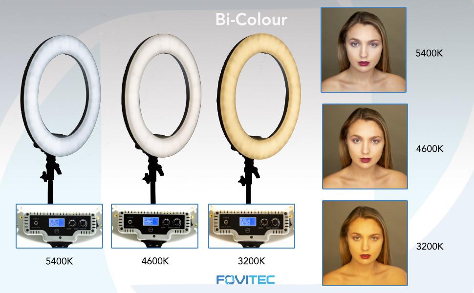 Fovitec Bi Colour Ring Light Colour Settings